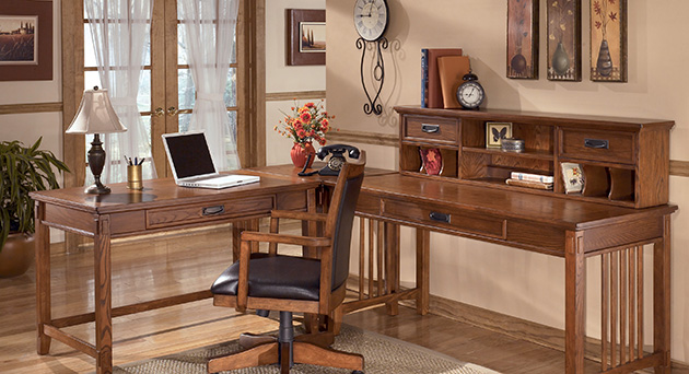 Cross Island L-Shape Desk w/ Low Hutch